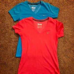 2 Nike Dri-fit V-necks